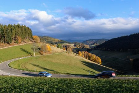 Black Forest landscape with cars